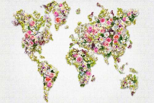Konfigurierbares Motiv; A.S. Création Fototapete «Florale Weltkarte M» 470808