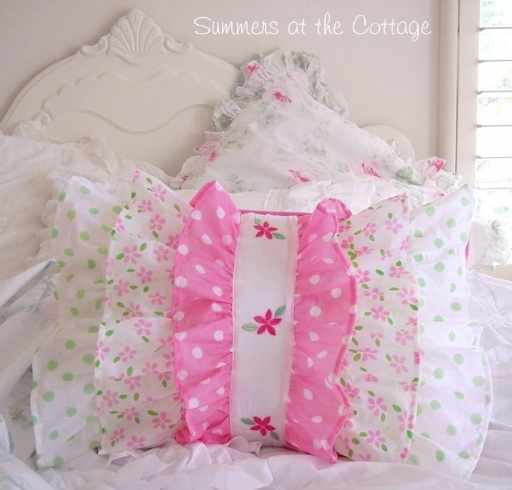 Shabby sweet chic pink daisy cottage green polka dots ruffles pillow