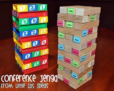 This is such a cute idea!! I could have pinned this for 'Primary' to would make a fun sharing time / music time idea!!Conference Jenga, Activities For Kids, Church Stuff, General Conference, Singing Time, Lds Ideas, Fun Ideas, Conference Ideas, Primary Music