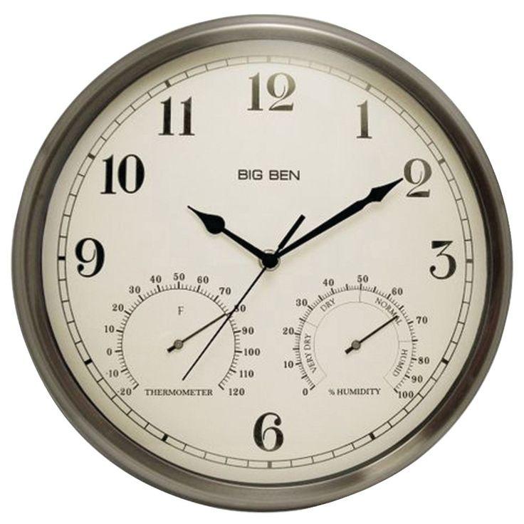 Westclox Indoor And Outdoor Clock With Temperature & Humidity Gauges