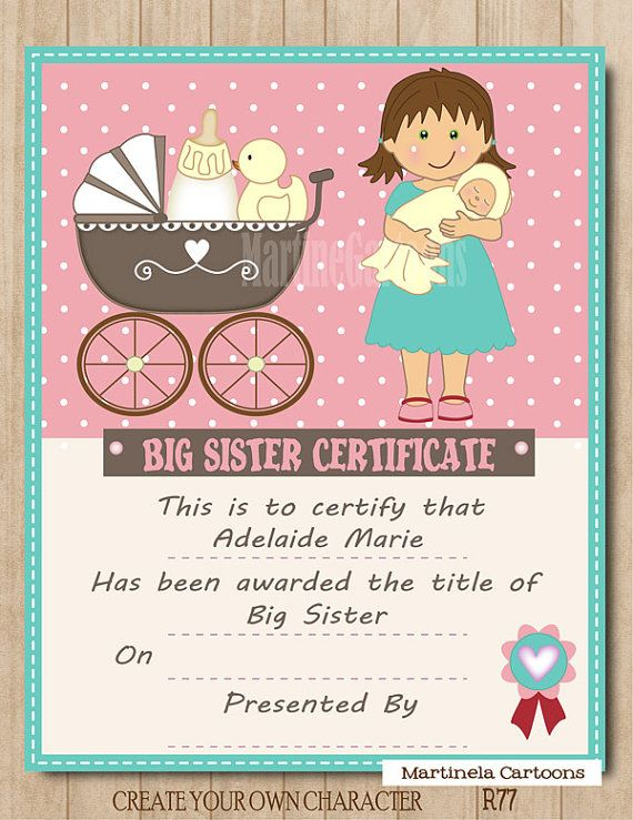 Gift Ideas For Big Sister At Baby Shower Part - 18: Personalized Big Sister Certificate, Digital Printable, Girl Custom Cartoon  Portrait, Poster, Wall