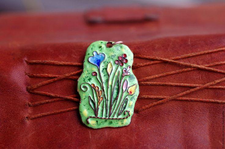 Купить Цветочный кулон - комбинированный, эмаль, Горячая эмаль, кулон, подвеска, цветы, цветной, цветочный