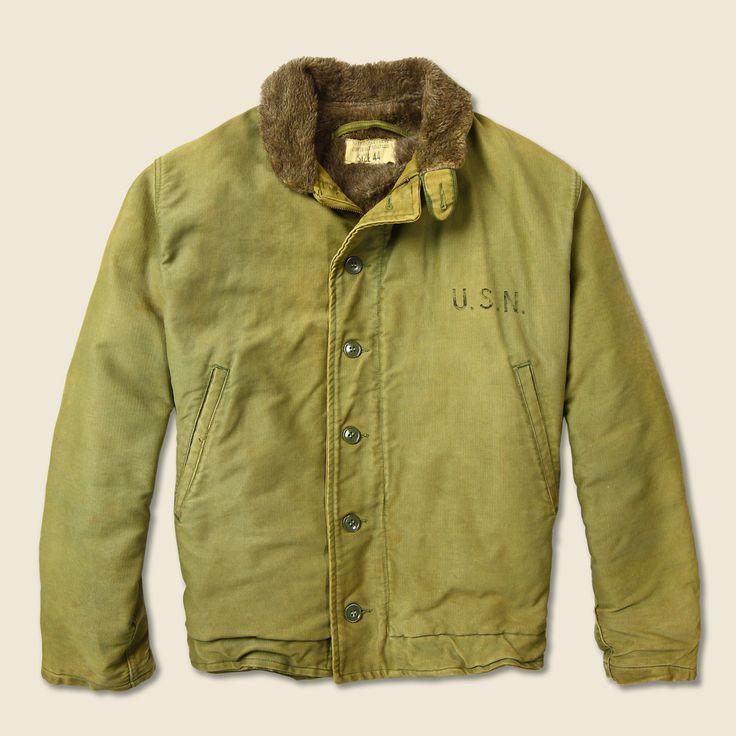 Wwii Us Navy N1 Deck Jacket Olive Alpaca Lining Usn