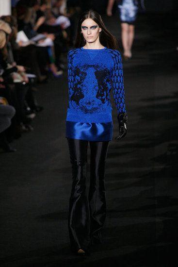 Prabal Gurung Fall 2012, black, blue, knit, metallic, sheen