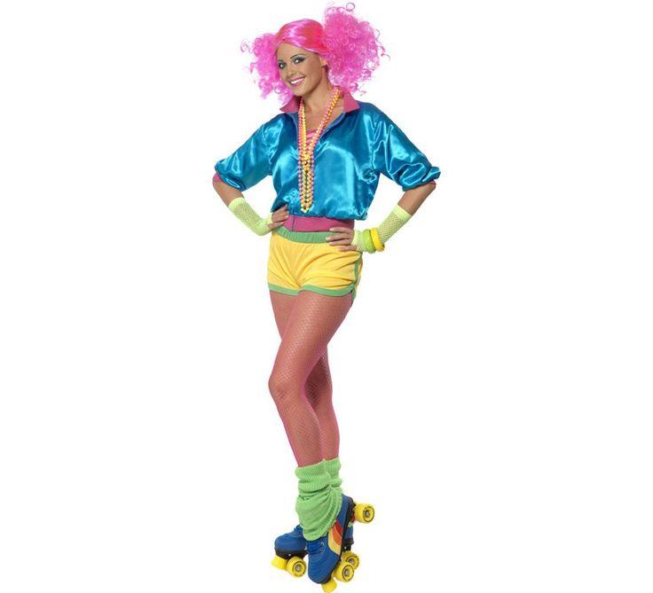 Disfraz de Patinadora de los años 80 para Mujer. Para formar parte de esta década, no puedes olvidarte de los patinadores. Los patines de 4 ruedas eran lo más top del momento.