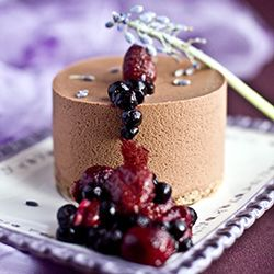 Chocolate mousse, lavender crémeux and berry compote from Michel Roux