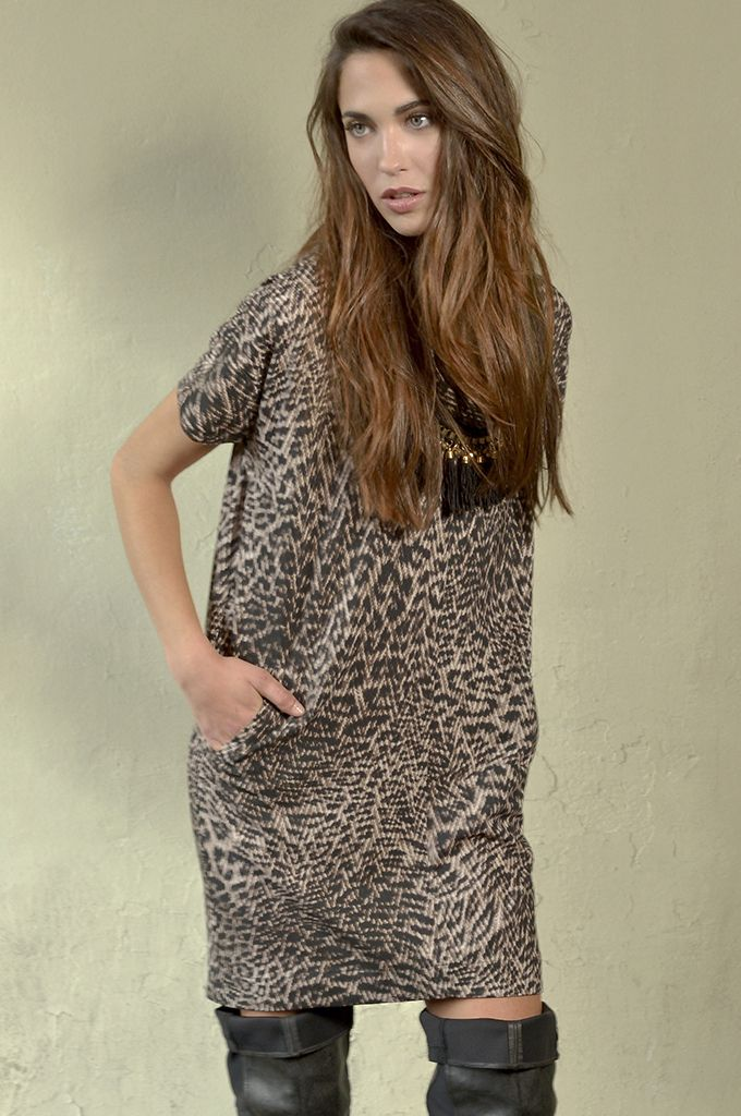 Sarah Lawrence - short sleeve cowl-neck dress.