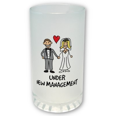 A cute cartoon of a newlywed couple captioned 'under new management'. Is it the bride or groom that wears the trousers in the marriage? Great for a wedding gift. #weddings #groom