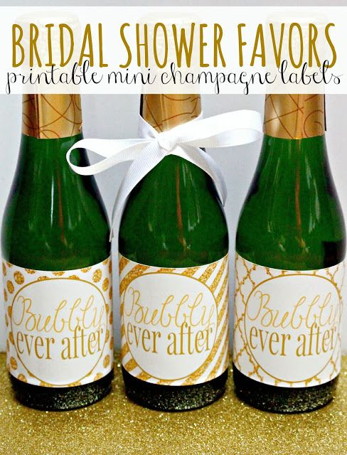"FREE printable bridal shower favors - ""Bubbly Ever After"" labels for mini champagne or prosecco bottles"