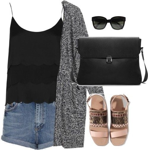 Ashley inspired outfit for a warm college orientation day Untitled #262 by ashbenzostyle featuring leather sandalsTopshop black chiffon tank top / Monki cardigan, $68 / Topshop short shorts / Zara leather sandals / CÉLINE brown glasses / Zara Black Messenger Bag