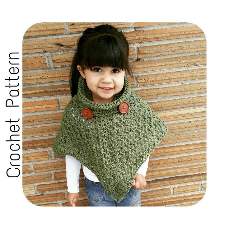 This listing is for the Crochet PATTERN only. Written instructions provided as a PDF digital download to create a cowl neck poncho. This pattern is written for you to be able create child size 2-16 and adult women size 6-16 poncho.  Materials List: Loops and Threads Impeccable Solids Worsted Weight Yarn 275-925 yards Size H (5.00mm) Crochet Hook for child size 2-8 Size I (5.50mm) Crochet Hook for child size 10-16 Size J (6.00mm) Crochet Hook for women's size 6-16 2 - 40mm wooden buttons Tape…