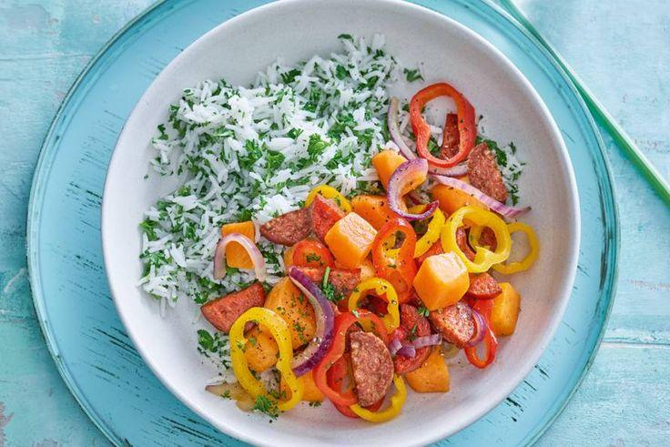 Kijk wat een lekker recept ik heb gevonden op Allerhande! Kleurrijke pompoen-paprika-chorizostoof