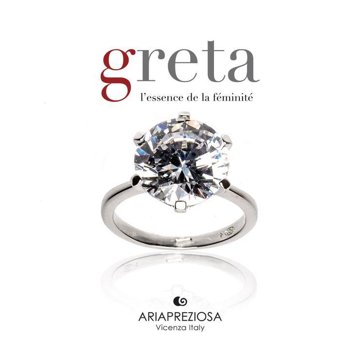 Greta - Solitario in Argento 925‰ Rodiato con Zircone Bianco (Cubik Zirconia) taglio brillante calibro di 12mm incassonato a griffe