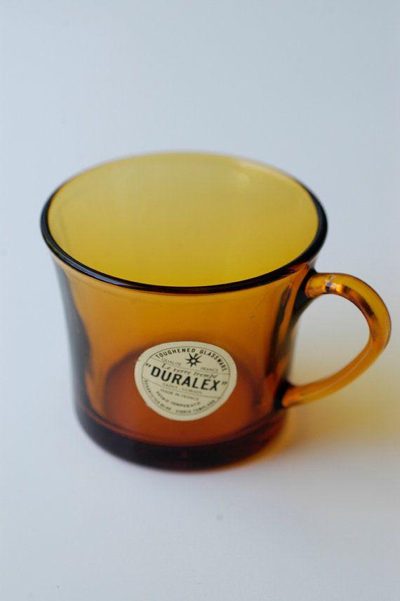 Vintage Duralex amber glass espresso / coffee cup by BOULOTDODO via www.boulotdodo.com
