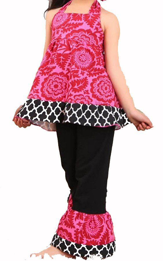 NEW! Girls Dark Pink Halter Tunic and Black Ruffle Pant Set-Girls summer capri outfit www.My4Princesses.com