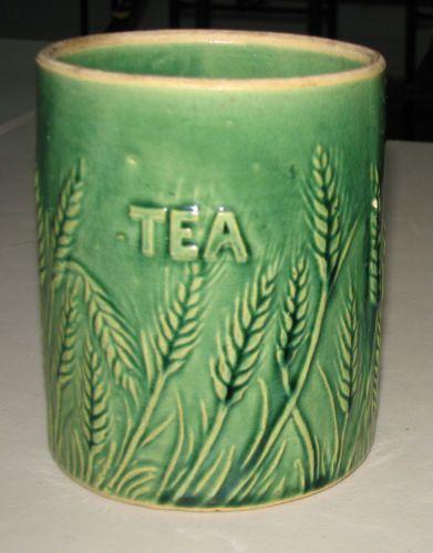 Hull Vintage Early Stoneware Pottery Tea Canister Base Green Glaze Wheat Design   eBay
