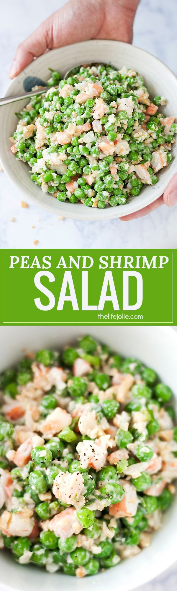 This Peas and Shrimp Salad recipe is a super easy side dish that's perfect for any holiday get together! It's served cold because it's creamy with sweet green peas (I totally used frozen!), shrimp, and cashews and water chestnuts which make it crunchy. Make this if you need a tasty and light Thanksgiving side dish!