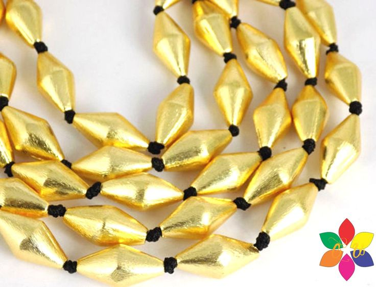 60% off on 5 strands of Gold Plated Copper rondelles elongated drums / dholki shape 8 - 18 MM Beads by colorvilla on Etsy