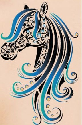 Bling Horse Head Waterproof Rhinestone Temporary Tattoo on BuyTrends.com, only price $20.99