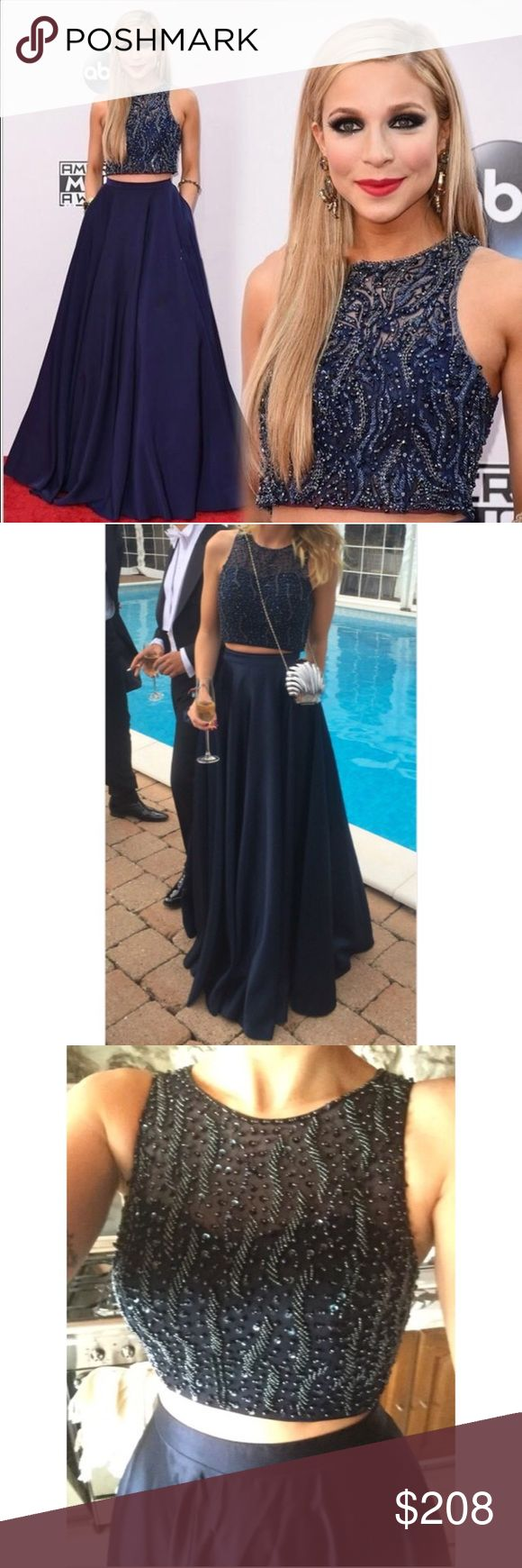 RED CARPET 2-piece Prom Dress Evening Formal Gown As seen on ABC Red Carpet on Miss America!! (Kira Kazantsev, Miss America 2015) Gorgeous navy dress for prom or any formal occasion! Dresses Prom