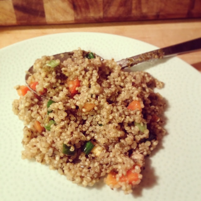 Quinoa With Roasted Tomatoes, Avocado, And Pesto Recipe — Dishmaps