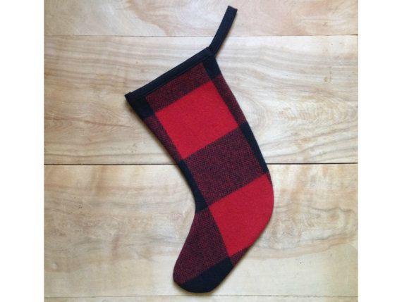 Christmas Stocking Buffalo Plaid Red Black Rustic