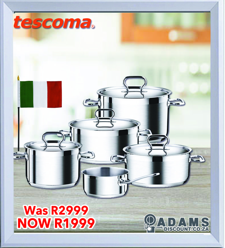 Now on special at Adams is the Tescona Home Profi 10 Piece Cookware Set.  HOME PROFI is ideal for use in both home and professional kitchens. HOME PROFI is made of high-grade stainless steel, with an extra-strong sandwich bottom and massive wide handles. Suitable for all types of stoves - gas, electric, glass ceramic and induction and it is dishwasher safe. The HOME PROFI 10-piece set contains: a 24 cm casserole, 5.0 l - casserole with lid, 20 cm, 3.0 l pot with lid, 4.0 l pot with lid  16…