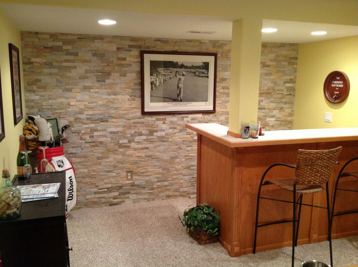 Natural Stone Wall Behind Basement Bar Natural Stone