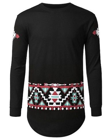 URBANCREWS Mens Hipster Hip Hop Aztec Tribal Pattern Long Sleeve Shirt