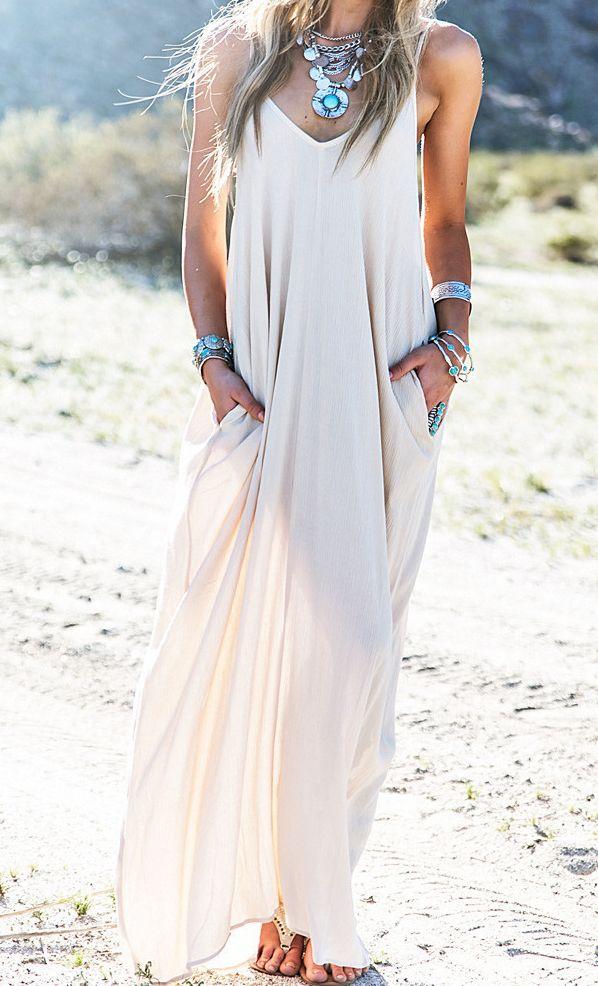 Robe+longue+à+bretelles+plissée+-+Blanc+13.12