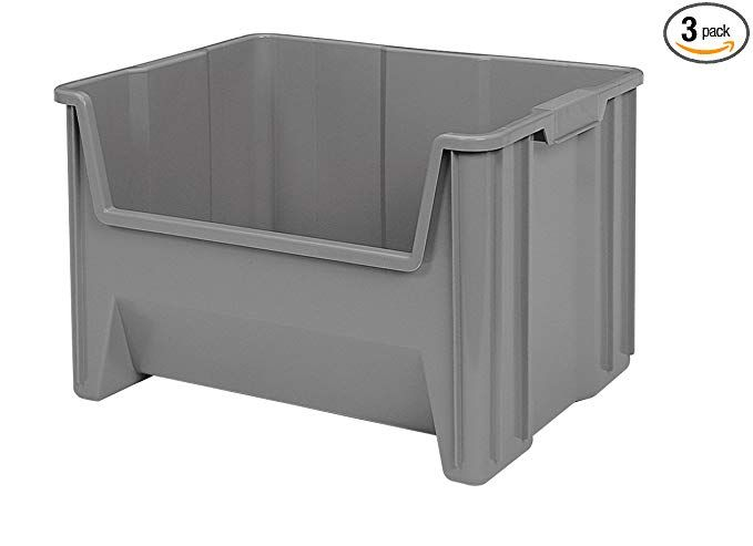 Akro Mils 13017grey Stacking Bin 15 1 4 Inch Deep By 19 7 8 Inch Wide By 12 1 2 Inch High 3 Pieces Open In 2020 Stacking Bins Storage Bins Plastic Storage Bins