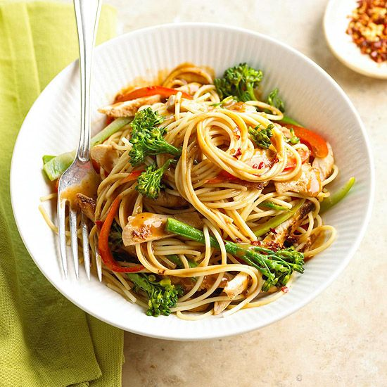A simple spin on chicken lo mein, this Chinese classic is made with easy bottled peanut sauce, crunchy red peppers, and broccolini: http://www.bhg.com/recipes/chicken/chicken-pasta-recipes/?socsrc=bhgpin031014peanutsauce&page=10