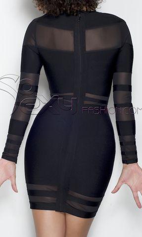 LONG SLEEVE STRETCH BLACK ORGANZA BANDAGE DRESS