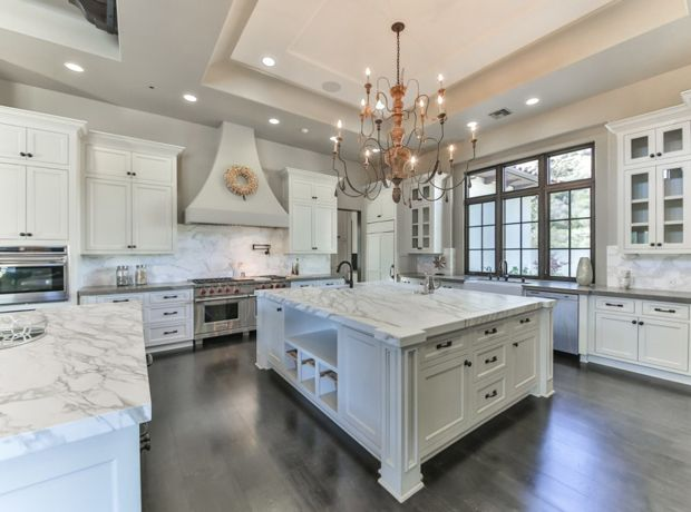 Britney Spears' white and grey kitchen is largely traditional.