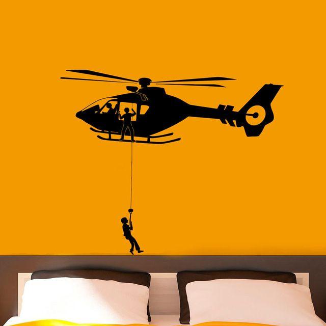 DCTOP Ввс Вертолет Армии Наклейки Виниловые Наклейки Военная Съемный Водонепроницаемый Стены Искусства Наклейки Украшения