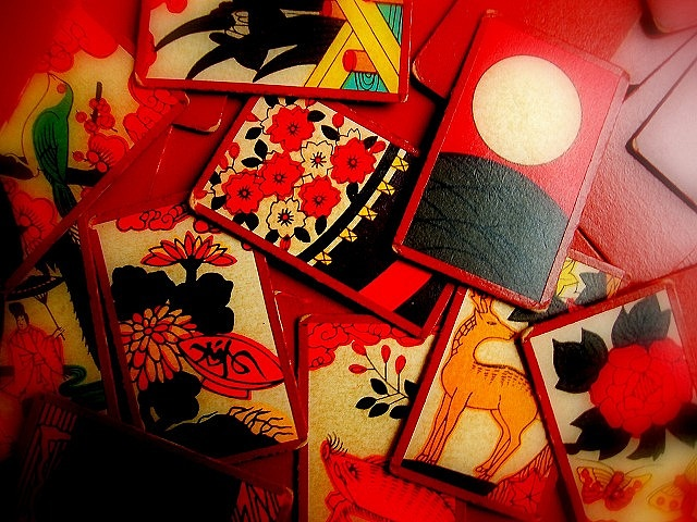 """""""HANAFUDA"""" by 5-pieces, via Flickr.  Hanafuda (花札) are playing cards of Japanese origin (karuta cards), used to play a number of games. The name literally translates as 'flower cards'.  A Hanafuda deck consists of 48 cards divided into 12 suits of 4 cards each. Each suit is named after one of the twelve months of the year and each has its appropriate flower in major and minor cards."""