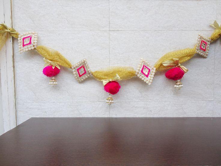 handmade toran, indian toran, door hanging valance, wall hanging, bandarvaar, door hangers, pompom door hanging, pompom toran, home decor by craftcoloursindia on Etsy