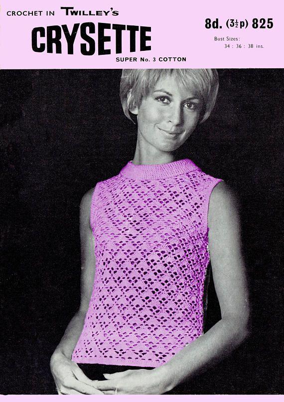 PDF Vintage 1960s Womens Ladies Crochet Pattern Lacy Blouse