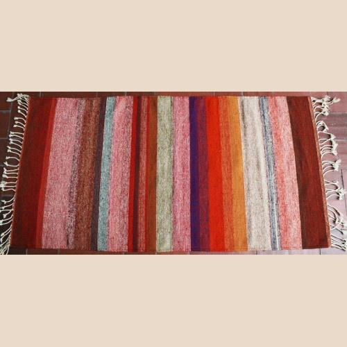 Multicolored Stripes Hand Woven Wool Rug