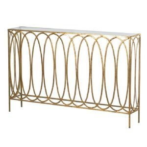Gold Shallow Oval Hoops Console Table