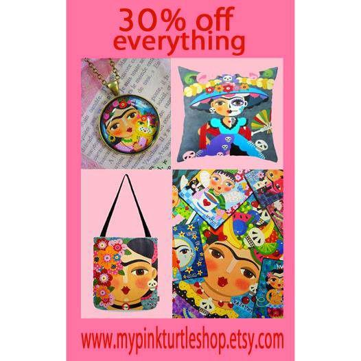 30% off EVERYTHING at  Mypinkturtleshop on ETSY ! Frida Kahlo, cats, dogs, fairies, angels and devils ! Until Dec 15, just use COUPON code 30THANKS ! https://mypinkturtleshop.etsy.com