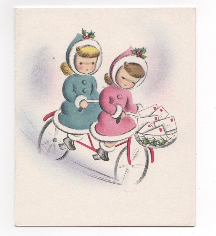 NORCROSS Little Girls on Bicycle for Two Basket Filled with Cards for Delivery FOR SALE • $3.95 • See Photos! Money Back Guarantee. Vintage Christmas Card -- NORCROSS Post Haste Signature Card. Two little girls wearing winter coats and hats ride on bicycle built for two carrying christmas cards in bike basket for 182788752862
