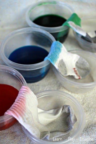 "Demonstrating ""walking water"" to dye socks with Kool Aid.  Fun science for kids!"