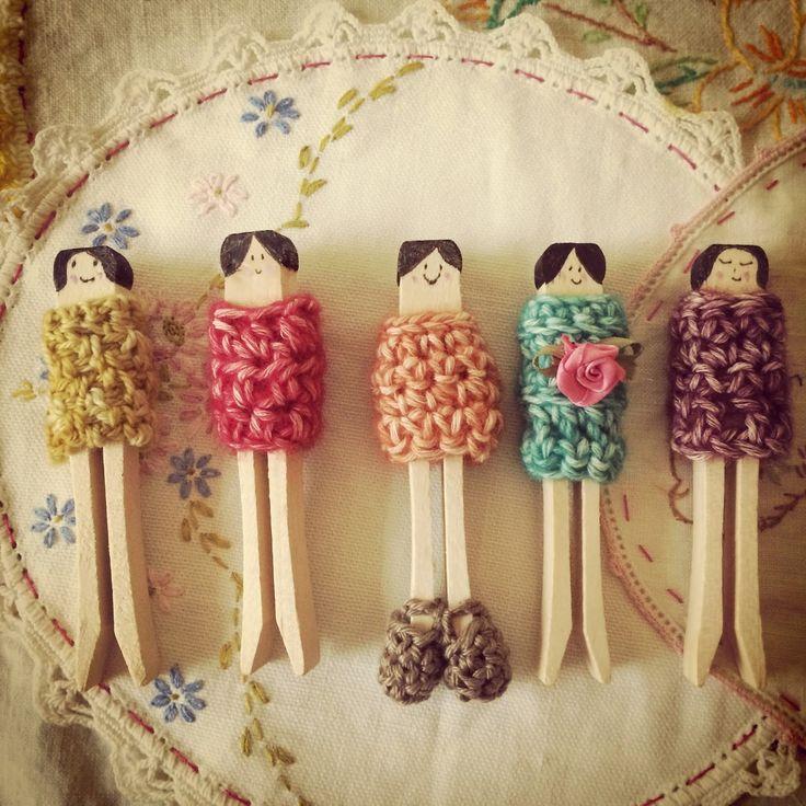 Maize Hutton: Lil' Wooly Pin Dolls