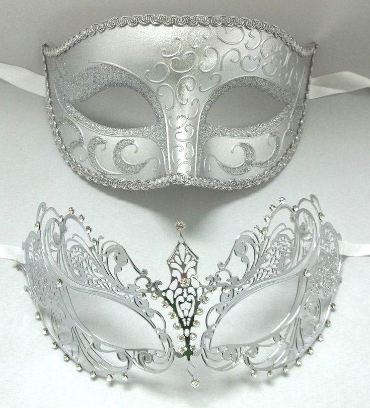 Lovers Men Woman Couple Silver Metal Glitter Venetian Masquerade Ball Mask Masks   eBay