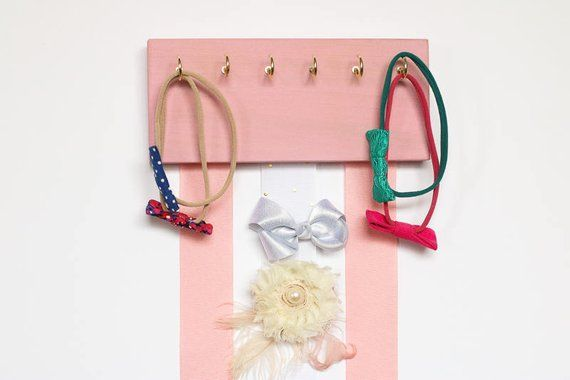 Pink Wood Ribbon Bow Organizer Headband Holder Pink Poplar