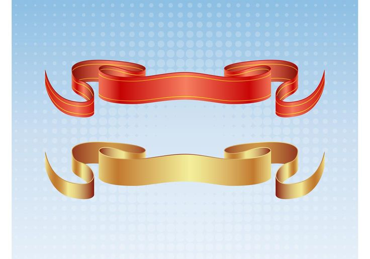 Set of two vector satin ribbon designs. Graphics come in gold and red with gold stripes set on a blue gradient with halftone pattern background. Download these elegant satin banners and create cool t-shirts, posters, logos, flyers, invitations and traditional heraldry or medieval themed designs.