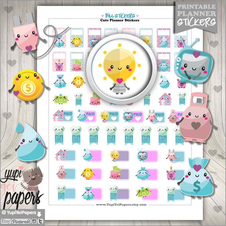 Bill Stickers, Planner Stickers, Bill Due Stickers, Kawaii Stickers, Utility Stickers, Planner Accessories, Stickers, Pay Day Stickers