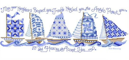 Sailboat Neighbors cross stitch pattern.
