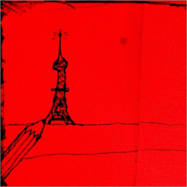 La Tour Eiffel, by Sterre. Rest. Toscana, Paris, 29/4/12.